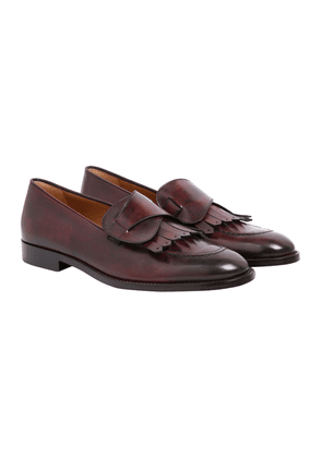 Burgundy Leather Alain Fringed Loafers
