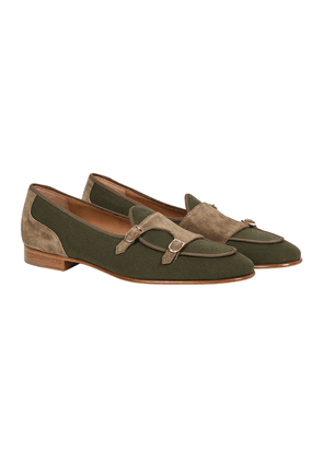 Green Leather Brera Monk-Strap Loafers