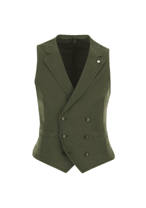 Olive Cotton-Mix Double-Breasted Waistcoat