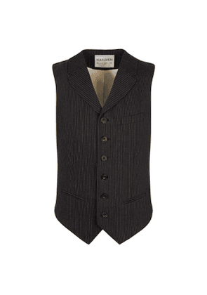 Black Cotton Pinstripe William High Lapel Waistcoat