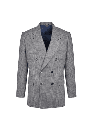 Blue Brushed Wool Prince of Wales Check Eaton Suit