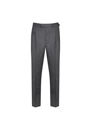 Grey Plain Flannel Wool-Cashmere Trousers