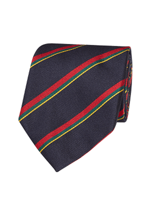 Navy, Red, Yellow and Green Striped Tie