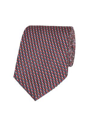 Midnight and Claret Patterned Silk Tie