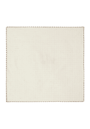 White Houndstooth Weave Cotton Pocket Square