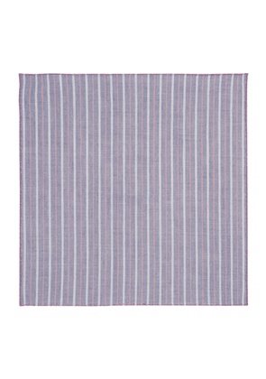 Pink and Blue Pinstripe Cotton Pocket Square
