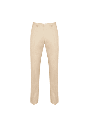 Beige Cotton Pleated Trousers