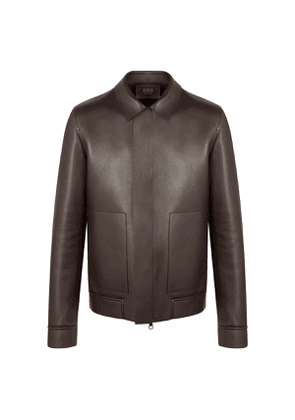 Brown Leather Shirt Collar Jacket