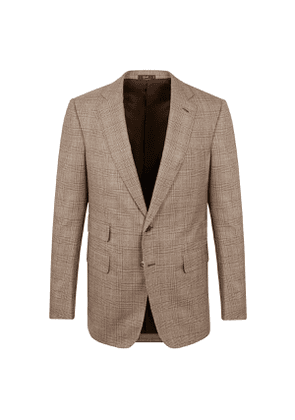 Light Brown Prince of Wales Check Wool Jacket