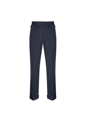 Blue Covert Wool Parallel Leg Trousers