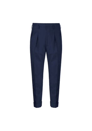 Navy Gabardine Hollywood Tapered Trousers