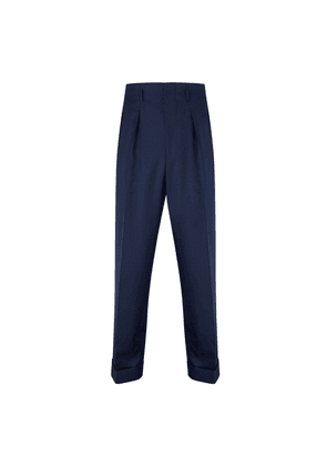 Blue Covert Wool Hollywood Trousers
