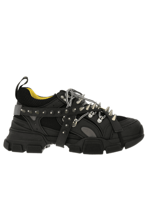 Trainers Sneakers Flashtrek Running Lace Up In Genuine Leather And Macro Net With Removable Stud Jewels