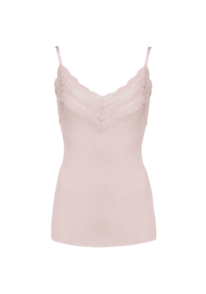 Wide Lace Strap Top - Soft Rose