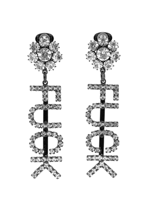 Ashley Williams Black and Transparent Fuck Drop Earrings