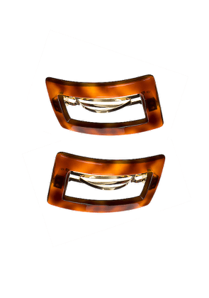 France Luxe Camille Cutout Barrette in Brown.