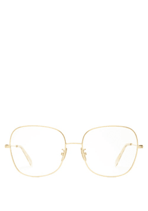 Celine Eyewear - Squared Butterfly-frame Metal Glasses - Womens - Gold