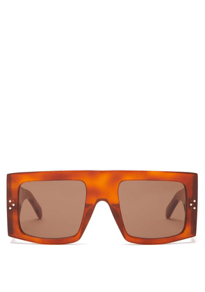 Celine Eyewear - Flat-top Square Acetate Sunglasses - Womens - Tortoiseshell