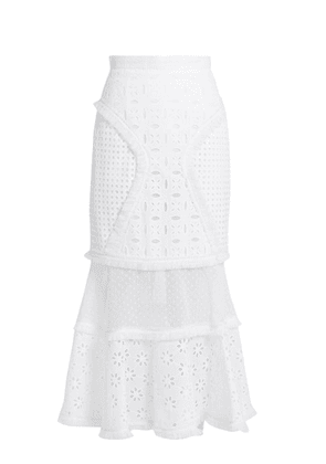 Andrew Gn - Broderie-anglaise Panelled Cotton Skirt - Womens - White