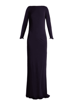 Azzaro - Ava Crystal-embellished Jersey Gown - Womens - Navy