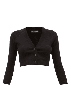 Dolce & Gabbana - Cropped Cashmere Blend Cardigan - Womens - Black