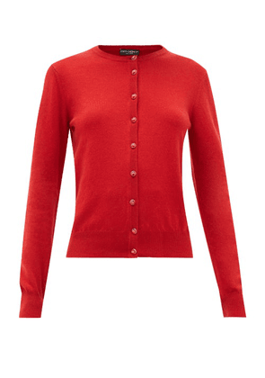 Dolce & Gabbana - Dg Crystal Button Cashmere Cardigan - Womens - Red