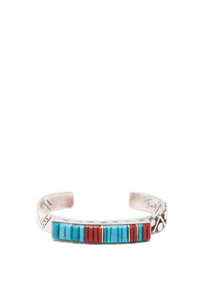 Dineh - Tall Mountain Turquoise & Sterling-silver Cuff - Mens - Silver Multi