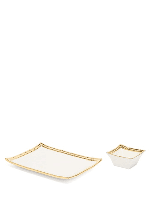 Aerin - Mayotte Bowl And Plate Set - White