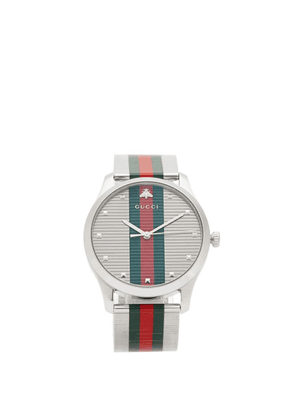 Gucci - G-timeless Web-stripe Stainless-steel Watch - Mens - Silver Multi