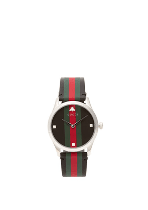 Gucci - G-timeless Web-striped Leather Watch - Mens - Black Silver