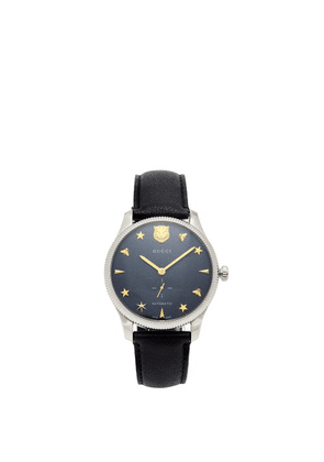 Gucci - G-timeless Leather Watch - Mens - Navy Silver