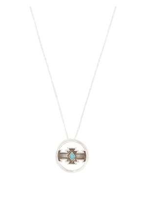 Dineh - Cedar Turquoise & Sterling Silver Disc Necklace - Mens - Silver