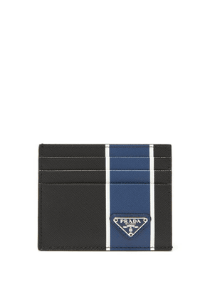 Prada - Logo-plaque Striped Saffiano-leather Cardholder - Mens - Black Blue