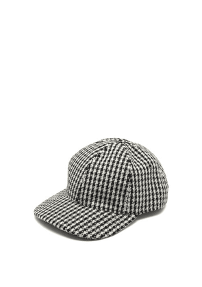 Ami - Houndstooth Wool-blend Baseball Cap - Mens - Black White