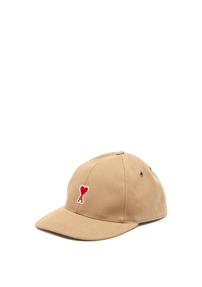 Ami - Logo-appliqué Cotton-twill Cap - Mens - Beige