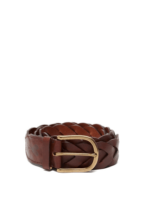 Ami - Braided Leather Belt - Mens - Brown