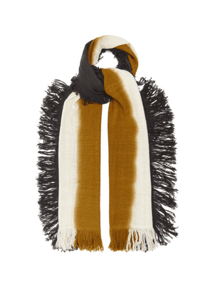 Denis Colomb - Hausa Fringed Tie-dye Cashmere Scarf - Mens - Brown Multi