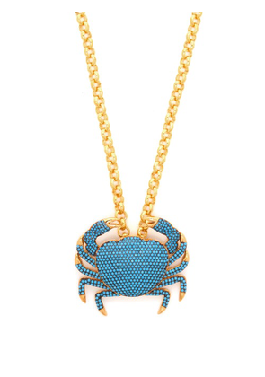 Begum Khan - Royal Crab Gold-plated Pendant Necklace - Womens - Blue