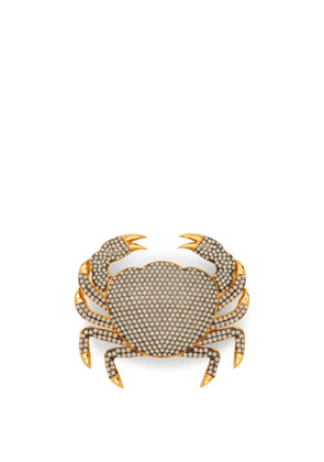 Begum Khan - Crab Opal-crystal & 24kt Gold-plated Brooch - Womens - White