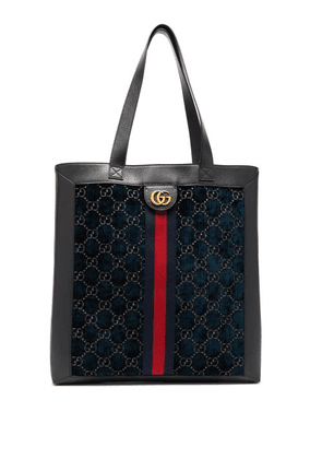 Gucci - Gg Velvet And Leather Tote Bag - Mens - Blue Multi
