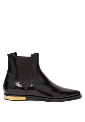 Dolce & Gabbana - Engine Turned Plaque Leather Chelsea Boots - Mens - Black