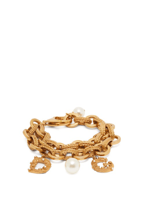 Dolce & Gabbana - Faux Pearl-embellished Logo Charm Bracelet - Womens - Gold