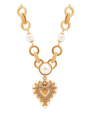 Dolce & Gabbana - Faux Pearl And Crystal Embellished Necklace - Womens - Gold