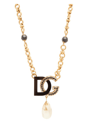 Dolce & Gabbana - Dg Charm & Crystal Drop Necklace - Womens - Black