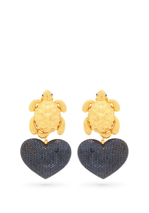 Begum Khan - Turtle Mon Amour Gold-plated Clip Earrings - Womens - Black Gold