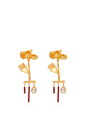 Valentino - Wilted Flower Drop Pendant Earrings - Womens - Red