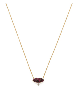 Delfina Delettrez - Pierced Lips 18kt Gold & Ruby Necklace - Womens - Yellow Gold