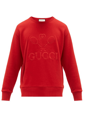 Gucci - Tennis Logo Embroidered Cotton Sweatshirt - Mens - Red