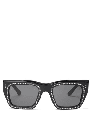 Celine Eyewear - Crystal-embellished D-frame Sunglasses - Mens - Black