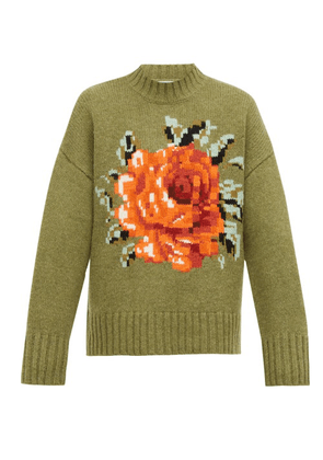 Ami - Oversized Floral-intarsia Wool Sweater - Mens - Green